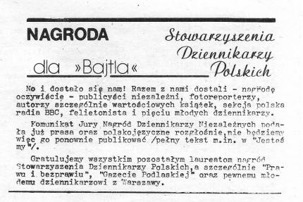 """Bajtel_nagroda Nagroda """"podziemnego"""" (nielegalnego) Stowarzyszenia Dziennikarzy Polskich:"""